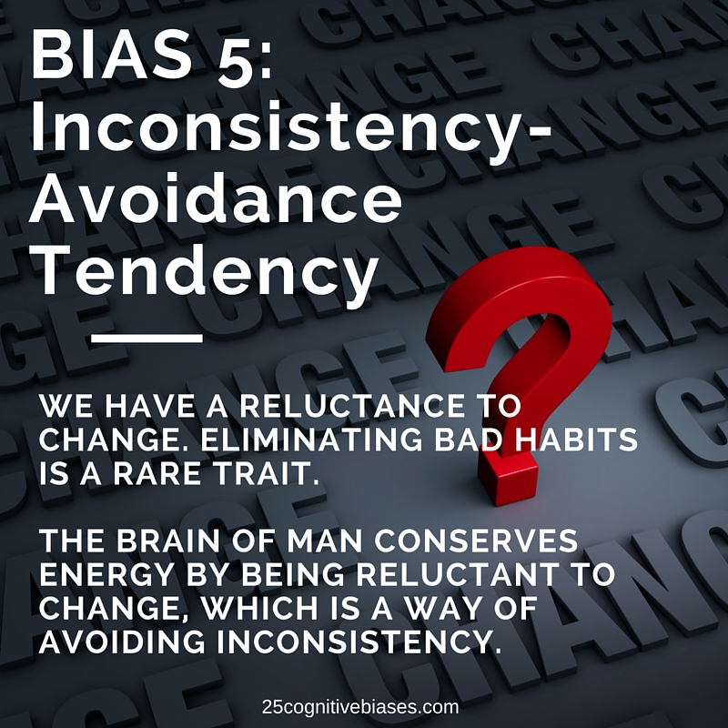 25 Cognitive Biases - Bias 5 Inconsistency-Avoidance Tendency