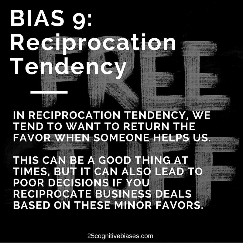 25 Cognitive Biases - Bias 9 Reciprocation Tendency