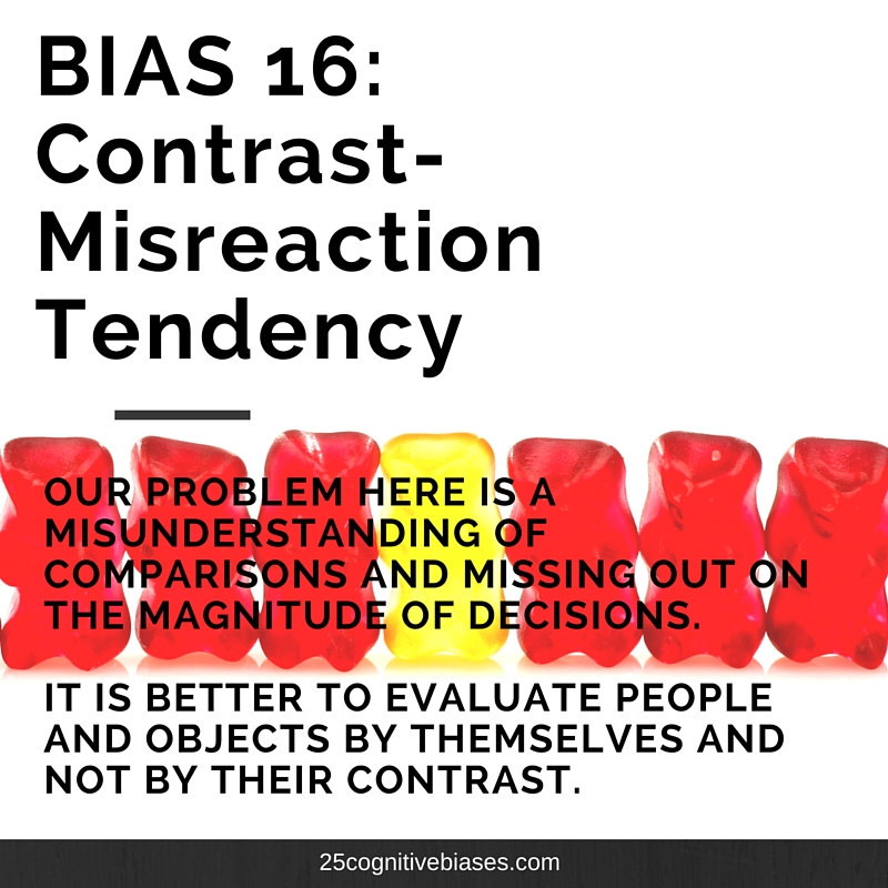 25 Cognitive Biases - Bias 16 Contrast-Misreaction Tendency
