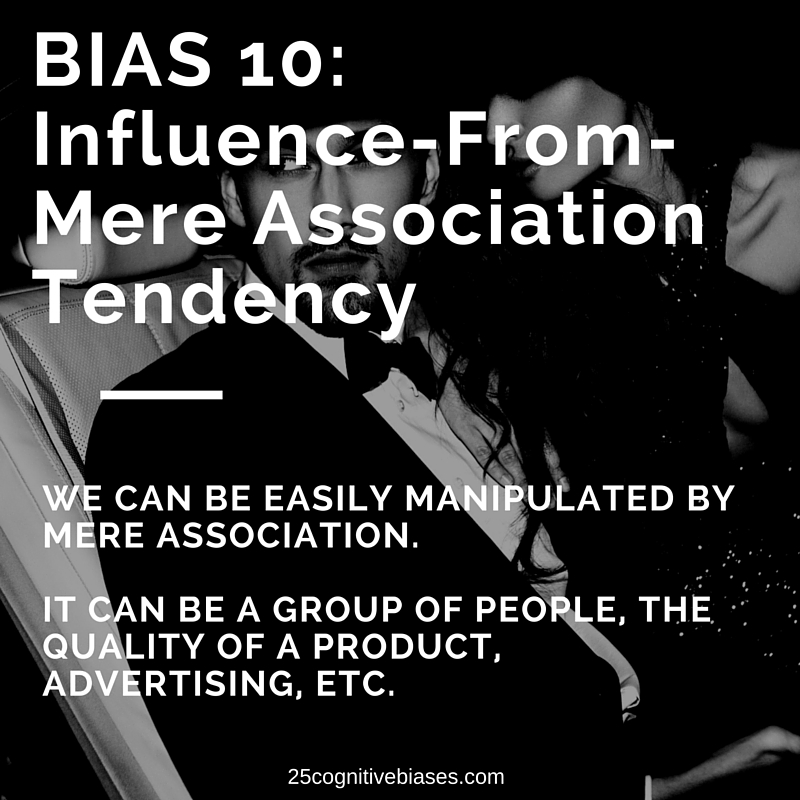 25 Cognitive Biases - Bias10 Influence-From-Mere-Association Tendency